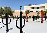 Bicycle Racks and Air Pump Station on Campus at the University of California Irvine