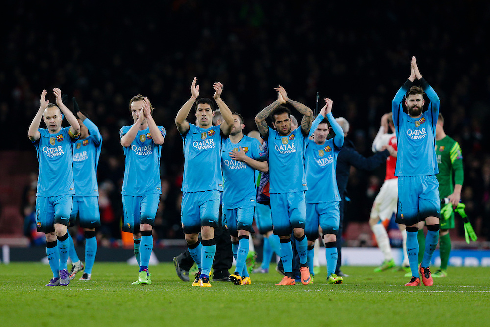 Barcelona players acknowledge the away fans at full time after a 0-2 victory<br /> <br /> Photographer Craig Mercer/CameraSport<br /> <br /> Football - UEFA Champions League Round of 16 - Arsenal v Barcelona - Tuesday 23rd February 2016 - Emirates Stadium - London<br /> <br /> © CameraSport - 43 Linden Ave. Countesthorpe. Leicester. England. LE8 5PG - Tel: +44 (0) 116 277 4147 - admin@camerasport.com - www.camerasport.com