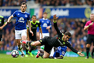 Eden Hazard of Chelsea is brought down by Idrissa Gueye of Everton. Premier league match, Everton v Chelsea at Goodison Park in Liverpool, Merseyside on Sunday 30th April 2017.<br /> pic by Chris Stading, Andrew Orchard sports photography.