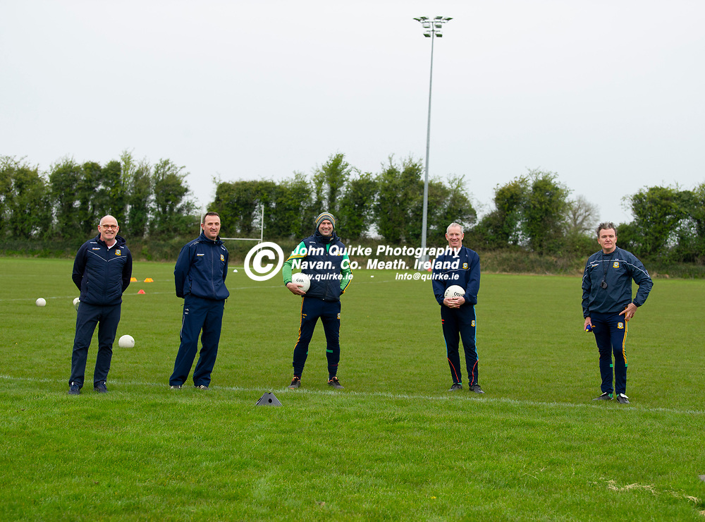 19-04-21. Meath Senior Football players training at Meath GAA Centre of Excellence, Dunganny.<br />Meath Mentors L to R: Finian Murtagh, Andy McEntee (Manager), Paul Nestor, Donal Curtis and Colm Nally.<br />Photo: John Quirke / www.quirke.ie<br />©John Quirke Photography, 16 Proudstown Road, Navan. Co. Meath. (info@quirke.ie / 046-9028461 / 087-2579454).