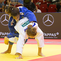 Rafaela Silva (top) of Brazil and Theresa Stoll (bottom) of Germany fight during the Women -57 kg category at the Judo Grand Prix Budapest 2018 international judo tournament held in Budapest, Hungary on Aug. 10, 2018. ATTILA VOLGYI
