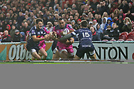 Gloucester wing David Halaifonua (11)   bursts through the tackles during the European Rugby Challenge Cup match between Gloucester Rugby and SU Agen at the Kingsholm Stadium, Gloucester, United Kingdom on 19 October 2017. Photo by Gary Learmonth.