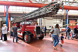 © Licensed to London News Pictures. 09/09/2017. London, UK. A Leyland Metz Turntable Ladder Pump 1937 fire engine on show at London Fire Brigade's annual Fire Engine Festival in Lambeth. The earliest motorised fire engines still working, London Fire Brigade's brand new pump as well firefighter uniforms are on display. Photo credit : Stephen Chung/LNP