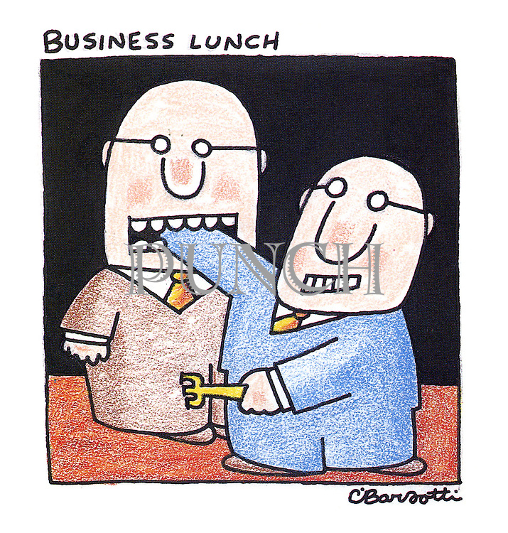 Business Lunch (two businessmen at a business lunch, one biting the hand of the other, whilst being stabbed by a fork)