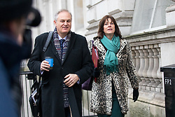 © Licensed to London News Pictures. 09/01/2018. London, UK. Secretary of State for Business, Energy and Industrial Strategy Claire Perry (right) walking through Whitehall to attend a Cabinet meeting in Downing Street this morning. Yesterday British Prime Minister Theresa May reshuffled her cabinet, appointing some new ministers. Photo credit : Tom Nicholson/LNP