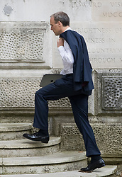 © Licensed to London News Pictures. 20/08/2021. London, UK. Foreign Secretary DOMINIC RAAB is seen at The Foreign Office in Westminster . Both houses fo Parliament were recalled earlier this week to discuss the ongoing situation in Afghanistan, where the Taliban have advanced quickly through the country after U. S troops started a full withdrawal . Photo credit: Ben Cawthra/LNP