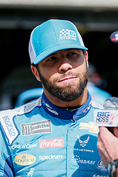 November 2, 2018 - Fort Worth, TX, U.S. - FORT WORTH, TX - NOVEMBER 02: Monster Energy NASCAR Cup Series driver Bubba Wallace (43) answers questions from the media before practice for the AAA Texas 500 on November 02, 2018 at the Texas Motor Speedway in Fort Worth, Texas. (Photo by Matthew Pearce/Icon Sportswire) (Credit Image: © Matthew Pearce/Icon SMI via ZUMA Press)