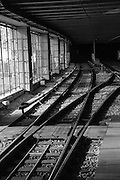Train tracks in a Station. Photographed in Vienna Austria