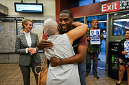 Jumaane Williams, the Democratic candidate for Lieutenant Governor of New York,hugs a supporter at a subway station in Flatbush, Brooklyn