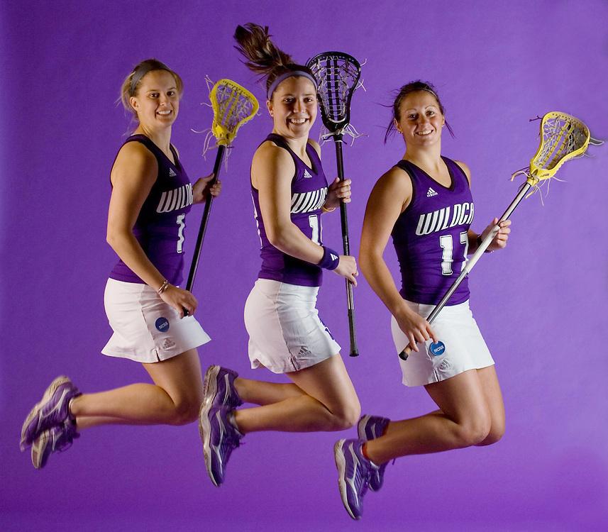 Northwestern University Lacrosse players Christy Finch, left, Hilary Bowen, middle, and Hannah Nielsen.