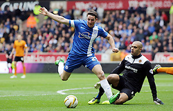 Peterborough United's Conor Washington in action with Wolverhampton Wanderers' Carl Ikeme - Photo mandatory by-line: Joe Dent/JMP - Mobile: 07966 386802 05/04/2014 - SPORT - FOOTBALL - Wolverhampton - Molineux Stadium - Wolverhampton Wanderers v Peterborough United - Sky Bet League One