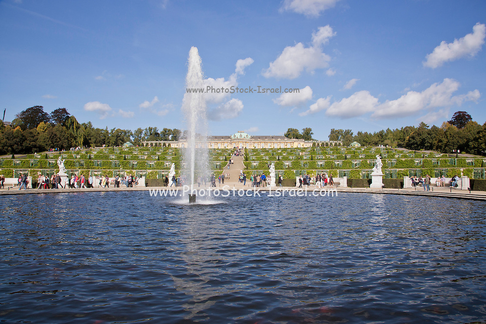 Terrace gardens, looking down from the palace. Sanssouci Park, Potsdam, Germany