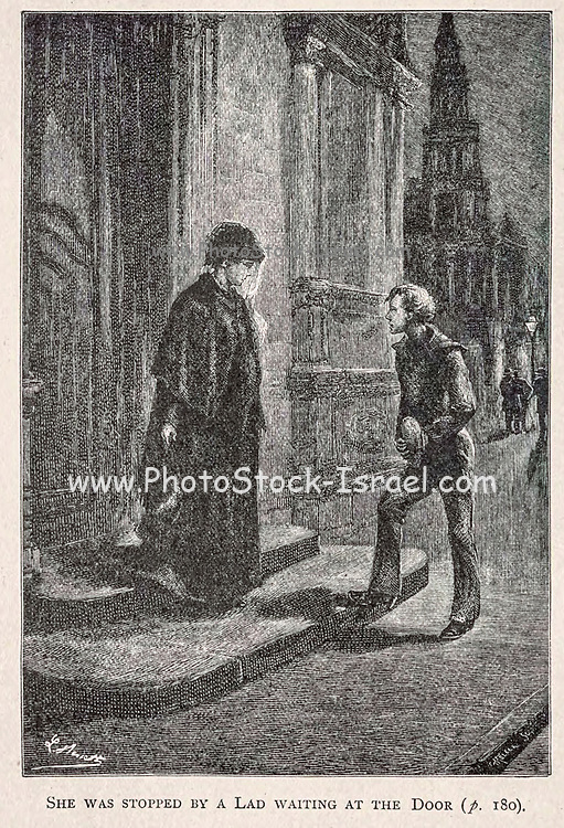 She was Stopped by a Lad waiting at the Door from the book ' Mistress Branican ' by Jules Verne, illustrated by Leon Benett. The story begins in the United States, where the heroine, Mistress Branican, suffers a mental breakdown after the death by drowning of her young son. On recovering, she learns that her husband, Captain Branican, has been reported lost at sea. Having acquired a fortune, she is able to launch an expedition to search for her husband, who she is convinced is still alive. She leads the expedition herself and trail leads her into the Australian hinterland. Mistress Branican (French: Mistress Branican, 1891) is an adventure novel written by Jules Verne and based on Colonel Peter Egerton Warburton and Ernest Giles accounts of their journeys across the Western Australian deserts, and inspired by the search launched by Lady Franklin when her husband Sir John Franklin was reported lost in the Northwest Passage. Translated by A. Estoclet, Published in New York, Cassell Pub. Co. 1891.