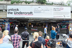© Licensed to London News Pictures. 20/07/2019. LONDON, UK.  The exterior of Undercroft skatepark.  Keen skateboarders perform their moves at the Southbank Undercroft skate park which has re-opened today after a GBP1.1m facelift and extension.  Known as the 'home of British skateboarding', improved lighting, concrete banks and a 426m extension allows more people to use the free facility.  Photo credit: Stephen Chung/LNP