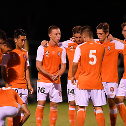 BRISBANE, AUSTRALIA - FEBRUARY 10: Brisbane Roar players gather during the NPL Queensland Senior Mens Round 2 match between Gold Coast United and Brisbane Roar Youth at Station Reserve on February 10, 2018 in Brisbane, Australia. (Photo by Football Click / Patrick Kearney)