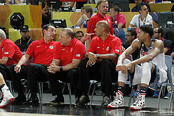02.09.2014, City Arena, Bilbao, ESP, FIBA WM, USA vs Neuseeland, im Bild USA's coach Mike Krzyzewski (l) and Anthony Davis (r) // during FIBA Basketball World Cup Spain 2014 match between USA and New Zealand at the City Arena in Bilbao, Spain on 2014/09/02. EXPA Pictures © 2014, PhotoCredit: EXPA/ Alterphotos/ Acero<br /> <br /> *****ATTENTION - OUT of ESP, SUI*****