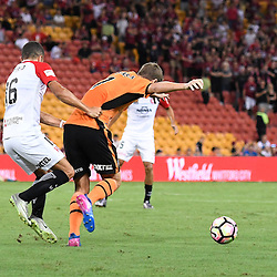 BRISBANE, AUSTRALIA - JANUARY 28: Thomas Kristensen of the Roar is fouled by Jaushua Sotirio of the Wanderers during the round 17 Hyundai A-League match between the Brisbane Roar and Western Sydney Wanderers at Suncorp Stadium on January 28, 2017 in Brisbane, Australia. (Photo by Patrick Kearney/Brisbane Roar)