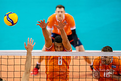 Fabian Plak of Netherlands in action during the CEV Eurovolley 2021 Qualifiers between Croatia and Netherlands at Topsporthall Omnisport on May 16, 2021 in Apeldoorn, Netherlands