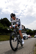 France, Talloire, 23 July 2009: Stuart O'Grady (Aus) Team Saxo Bank on the Côte de Bluffy climb during Stage 18 - a 40.5 km Annecy to Annecy individual time trial. Photo by Peter Horrell / http://peterhorrell.com .