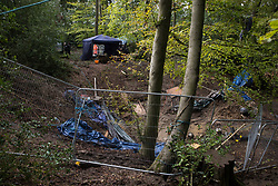 An area of a wildlife protection camp in ancient woodland at Jones' Hill Wood containing tunnels dug out by bailiffs from the National Eviction Team (NET) is pictured on 5 October 2020 in Aylesbury Vale, United Kingdom. The Jones' Hill Wood camp, one of several protest camps set up by anti-HS2 activists along the route of the £106bn HS2 high-speed rail link in order to resist the controversial infrastructure project, is currently being evicted by NET bailiffs working on behalf of HS2 Ltd.
