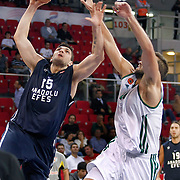 Anadolu Efes's Estaban BATISTA (L) during their Two Nations Cup basketball match Anadolu Efes between Panathinaikos at Abdi Ipekci Arena in Istanbul Turkey on Saturday 01 October 2011. Photo by TURKPIX