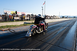 Kory Souza tests his mettle at the Baker Drivetrain Run-What-You-Brung-Drags at the Sturgis Dragway during the Sturgis Motorcycle Rally. Sturgis, SD, USA. Wednesday, August 11, 2021. Photography ©2021 Michael Lichter.