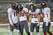 Victoria West players (from left) Jonathan Jimenez, Tyler Abney, Clayton Williams and Gunner Harrison comfort each other after their defeat against Vista Ridge at Heroes Stadium in San Antonio. Photo; Jaime R. Carrero/jcarrero@vicad.com