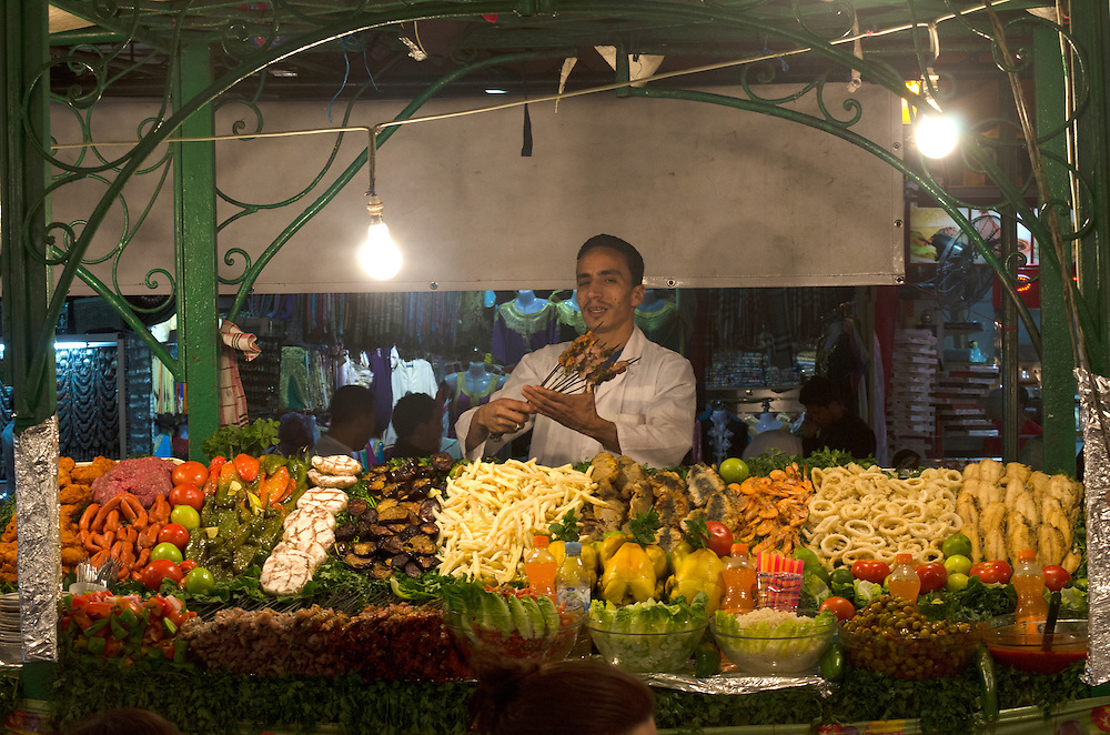 Busy food stall in Jemaa El Fna Marrakech Morocco