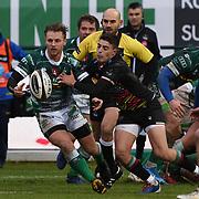 Treviso 02/01/2021 Stadio Monigo<br /> Guinness PRO14 <br /> Benetton Treviso vs Zebre <br /> <br /> Callum Braley placcato da Nicolò Casilio