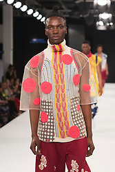 """© Licensed to London News Pictures. 02/06/2015. London, UK. Collection by Nadia Kelly, De Montfort University. Runway show """"Best of Graduate Fashion Week 2015"""". Graduate Fashion Week takes place from 30 May to 2 June 2015 at the Old Truman Brewery, Brick Lane. Photo credit : Bettina Strenske/LNP"""