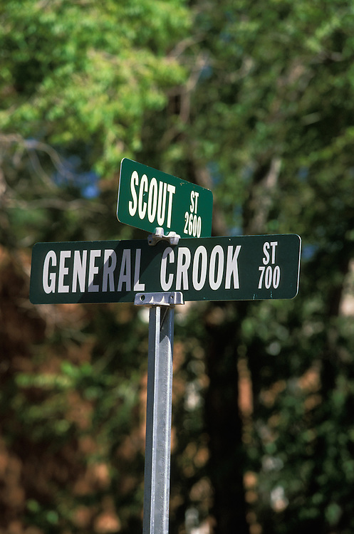 A street sign at Fort Apache on the Fort Apache Indian Reservation, Arizona, USA, commemorating General Crook, the famous general who employed the Apache Indians as scouts in the cavalry. June 2004.