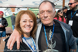 Genny and John Reed at the Flying Piston builder breakfast to benefit Motorcycle Missions at the Buffalo Chip during the annual Sturgis Black Hills Motorcycle Rally. Sturgis, SD. USA. Sunday August 6, 2017. Photography ©2017 Michael Lichter.