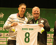 01/07/2018. Orlando, USA.  <br /> Press event to launch the 2018 Florida Cup.<br /> <br /> Orlando Mayor Buddy Dyer with Jackson Follman whos team died in a plane crash in Brazil ahead of a game he was the only survivor. <br /> <br /> At  Universal Resort, Orlando.<br /> Pic: Mark Davison /PLPA