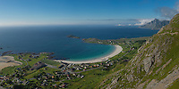 Summer view over Ramberg beach from Nubben, Ramberg, Flakstadøy, Lofoten Islands, Norway