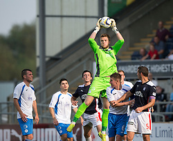 Queen of the South's keeper Zander Clark saves.<br /> Falkirk 1 v 1 Queen of the South, Scottish Championship game played today at The Falkirk Stadium.