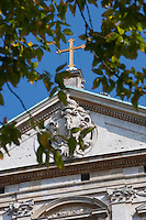 Cross on the facade of St Peter and Paul church in Krakow Poland