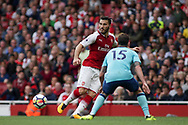 Sead Kolasinac of Arsenal plays a pass.  Premier league match, Arsenal v AFC Bournemouth at the Emirates Stadium in London on Saturday 9th September 2017. pic by Kieran Clarke, Andrew Orchard sports photography.