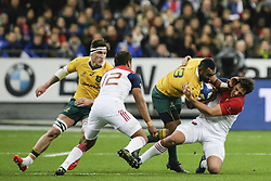 November 19, 2016 - Saint Denis, France - Tevita Kuridrani of Australia (2nd R)  is tackled by Remi Lamerat of France (R) during the rugby union test match between France and Australia at the Stade de France in Saint-Denis, outside Paris, on November 19, 2016. (Credit Image: © Geoffroy Van Der Hasselt/NurPhoto via ZUMA Press)