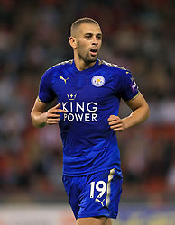 """Leicester City's Islam Slimani during the Carabao Cup, Second Round match at Bramall Lane, Sheffield. PRESS ASSOCIATION Photo. Picture date: Tuesday August 22, 2017. See PA story SOCCER Sheff Utd. Photo credit should read: Tim Goode/PA Wire. RESTRICTIONS: EDITORIAL USE ONLY No use with unauthorised audio, video, data, fixture lists, club/league logos or """"live"""" services. Online in-match use limited to 75 images, no video emulation. No use in betting, games or single club/league/player publications."""