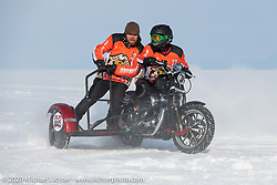Vitaliy Timoshenko having fun in the snow on his ice racer Harley-Davidson Sportster with sidecar during the Baikal Mile Ice Speed Festival. Maksimiha, Siberia, Russia. Saturday, February 29, 2020. Photography ©2020 Michael Lichter.