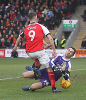 Fleetwood Town's Ched Evans in action with Luton Town's James Shea<br /> <br /> Photographer Mick Walker/CameraSport<br /> <br /> The EFL Sky Bet League One - Fleetwood Town v Luton Town - Saturday 16th February 2019 - Highbury Stadium - Fleetwood<br /> <br /> World Copyright © 2019 CameraSport. All rights reserved. 43 Linden Ave. Countesthorpe. Leicester. England. LE8 5PG - Tel: +44 (0) 116 277 4147 - admin@camerasport.com - www.camerasport.com