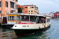 Italy, Venice. Vaporetto on Grand Canal.
