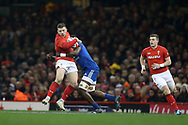 Rob Evans of Wales is stopped in his tracks by Yacouba Camara of France.  Wales v France, NatWest 6 nations 2018 championship match at the Principality Stadium in Cardiff , South Wales on Saturday 17th March 2018.<br /> pic by Andrew Orchard, Andrew Orchard sports photography