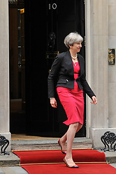 © Licensed to London News Pictures. 13/07/2017. London, UK. Theresa May, Prime Minister prepares to greet King Felipe V1 of Spain, on a State Visit to the UK, for bilateral talks at Downing Street.   Photo credit : Stephen Chung/LNP