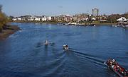 Putney. London,  Great Britain.<br /> Oxford, Blue Boat. moves away from Hammersmith Bridge. 2016 Tideway Week, Putney. Putney Embankment, Championship Course. River Thames.<br /> <br /> Friday  25/03/2016 <br /> <br /> [Mandatory Credit; Karon PHILLIPS/Intersport-images]