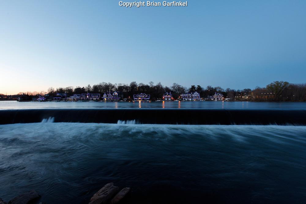 Boathouse Row at twilight in Philadelphia, Pennsylvania on Tuesday March 29th, 2011. (Photo By Brian Garfinkel)