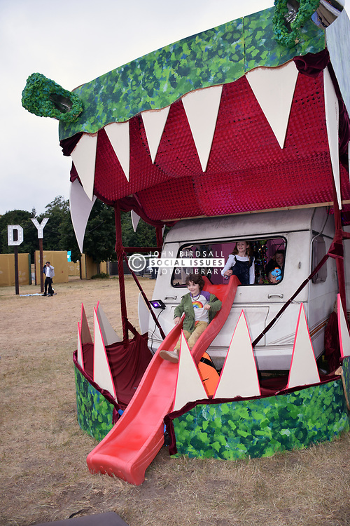 Latitude Festival, Henham Park, Suffolk, UK July 2019. Back of caravan turned into a slide in Trailer Park