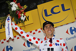 July 16, 2017 - Le Puy-En-Velay, FRANCE - French Warren Barguil of Team Sunweb celebrates on the podium in the red polka-dot jersey for best climber after the 15th stage of the 104th edition of the Tour de France cycling race, 189,5 from Laissac-Severac l'Eglise to Le Puy-en-Velay, France, Sunday 16 July 2017. This year's Tour de France takes place from July first to July 23rd. BELGA PHOTO DAVID STOCKMAN (Credit Image: © David Stockman/Belga via ZUMA Press)