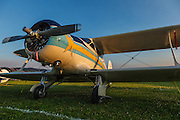 """1941 Beech D17S """"Staggerwing"""" at the 2014 Hood River Fly-In at WAAAM."""