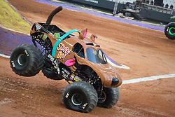 December 16, 2017 - Sao Paulo, Sao Paulo, Brazil - Scooby-Doo lands after a jump during a round of racing. Monster Jam was held at Corinthians Stadium, in Sao Paulo, Brazil. (Credit Image: © Paulo Lopes via ZUMA Wire)